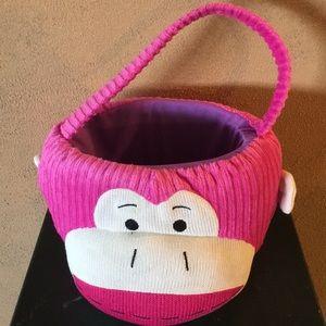 Monkey sock Halloween, Easter, Decor Basket NWOT🐵